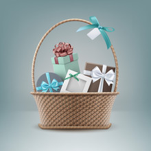 Vector Illustration Of Wicker Basket Full Of Gift Boxes Isolated On Background