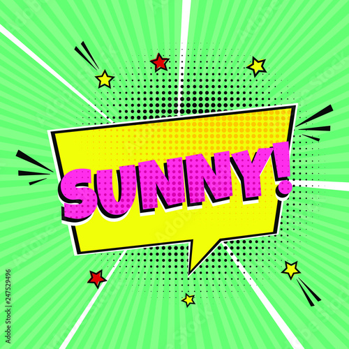 Fotografia  Comic Lettering Sunny In The Speech Bubbles Comic Style Flat Design