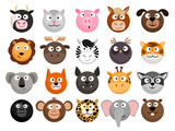 Fototapeta Fototapety na ścianę do pokoju dziecięcego - Animal emoticons. Horse and zebra heads, monkey and dog face icons, tiger and elephant funny friend cartoon pack isolated on white, vector illustration