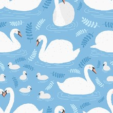 Seamless Pattern With Flock Of...