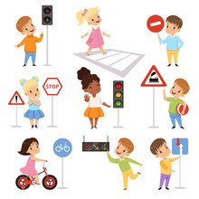 Cute Smiling Boys And Girls Child Learning Rules Of Road Set, Traffic Education, Rules, Safety Of Kids In Traffic Vector Illustration