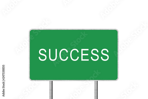 Fotografía  Success Green Road Sign Isolated On White Background