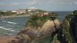 Overall view of Towan beach and bridge, Newquay, Cornwall, England