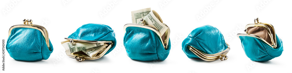 Fototapety, obrazy: Blue coin purse empty and with money set.