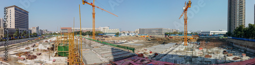 Fototapety, obrazy: wide photo of construction site doing base works