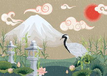 Illustration With Mountain, Crane, Lotuses And Lanterns