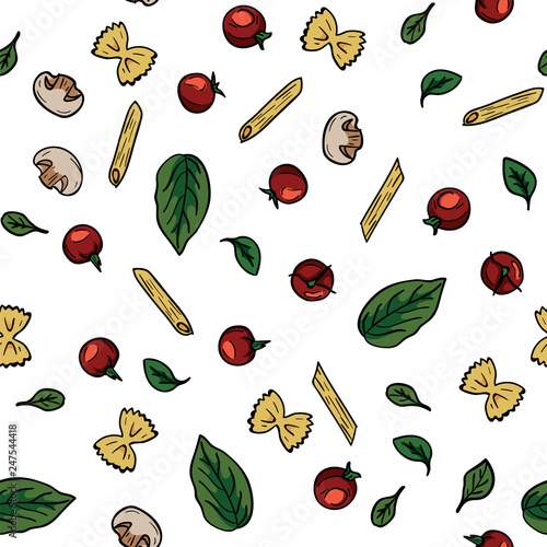 Doodle Drawing Cherry Tomatoes Mushrooms Pasta Basil Herbs Seamless Pattern Food Pattern Background Cooking Food Concept Ingredient For Italian Pasta Diet And Nutrition Buy This Stock Vector And Explore Similar Vectors