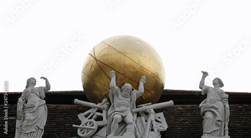 Atlas, supporting the celestial globe - Hofburg, Vienna Canvas Print