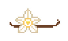 Vanilla Orchid Flower And Dried Vanilla Pod, 8 Bit Pixel Art Icon Isolated On White. Food, Cosmetic Product, Perfume Package Design Element. Exotic Spice Symbol. Aromatic Cooking&baking Ingredient.