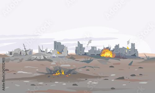 Foto auf Leinwand Dunkelgrau Destroyed city concept landscape background illustration, building between the ruins and concrete, war destruction panorama, city quarter after earthquake