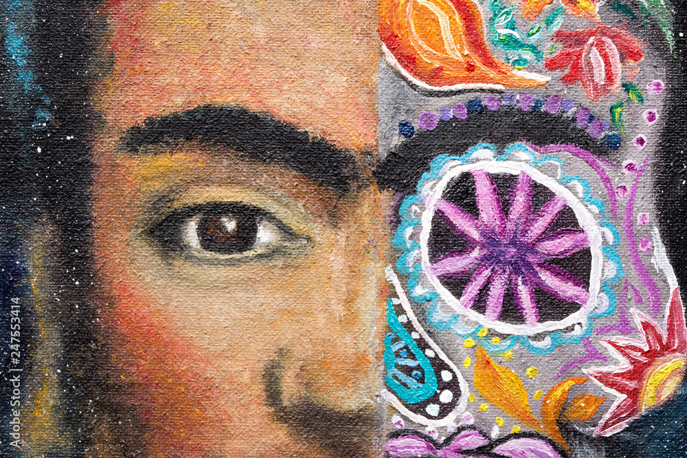 Detail of a painting, Portrait of Frida Kahlo sugar skull, oil painting on canvas