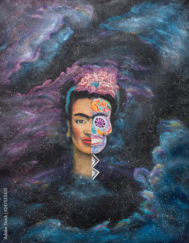 Fotografering Portrait of Mexican Artist Frida Kahlo Original Large Oil Painting on Canvas