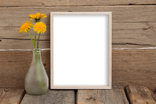 8x10 Thin Box Frame Mockup On A Wooden Background