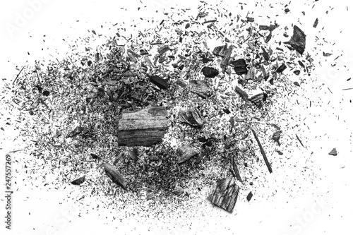 Valokuva  black dust powder charcoal  on white background