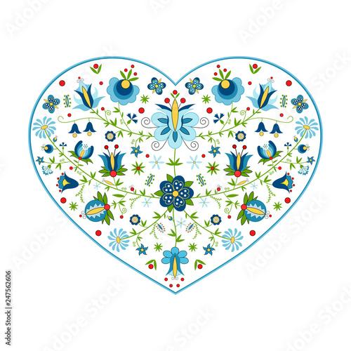 Obraz Polski folklor kaszubski w kształcie serca - fototapety do salonu