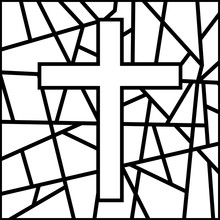 Holy Easter. Cross On Stained Glass. The Symbol Of The Holiday. Religion.