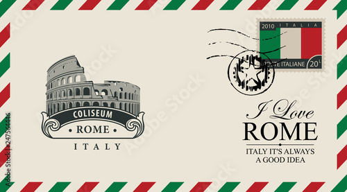 Fotografía  Vector envelope or postcard in retro style with Roman Coliseum, postmark and postage stamp with Italian flag