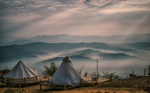 The Light A Beautiful Natural Beauty On Mountain Accommodation Tent Doi Samer-Dao In Nan Province, Thailand.