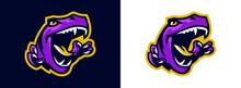 The Emblem Of An Aggressive Dinosaur, Sharp Teeth. Sports Logo Dino. Extinct Predatory, Jurassic Period. Vector Illustration