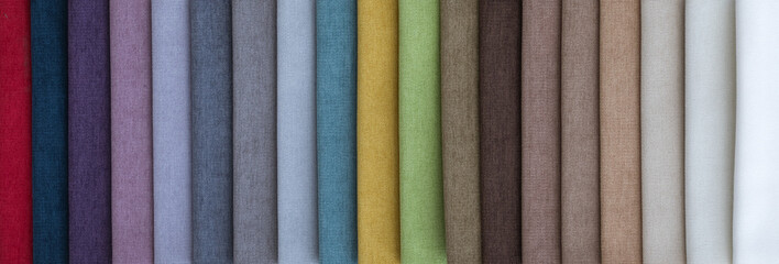 Colorful upholstery fabric samples in store