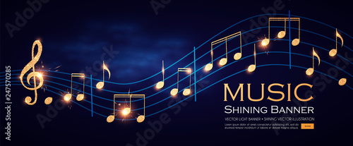 Music Notes and Treble Clef on Swirling tave Fototapet