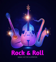 Music Instruments, Guitar, Double Bass And Saxophone. Rock N Roll Concert Design Template.