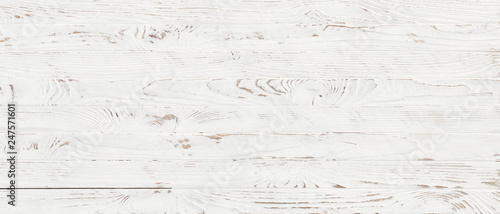 Fotografía  white wood texture background, top view wooden plank panel