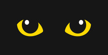 Yellow Cat Eyes In The Dark.