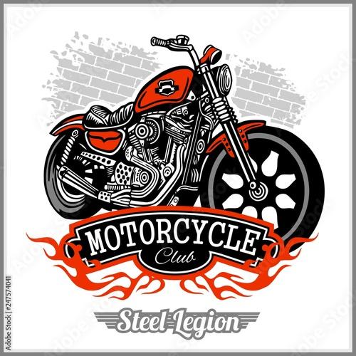 Fényképezés Motorcycle label t-shirt design with illustration of custom chopper