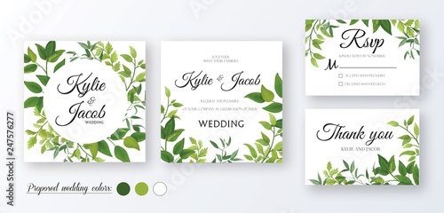 Fototapeta Wedding Invitation Thank You Rsvp Card Floral Design With Green Watercolor Fern Leaves Foliage Greenery Decorative Frame Print Vector