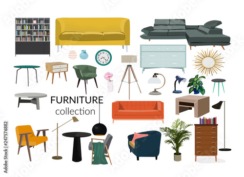 Pleasing Vector Interior Design Illustration Collection Set Of Inzonedesignstudio Interior Chair Design Inzonedesignstudiocom