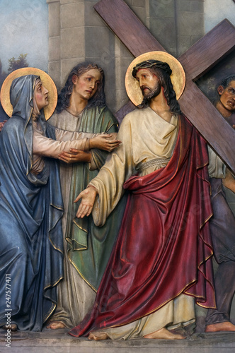 Photo 4th Stations of the Cross, Jesus meets His Mother, Basilica of the Sacred Heart