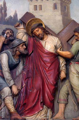 5th Stations of the Cross, Simon of Cyrene carries the cross, Basilica of the Sa Wallpaper Mural