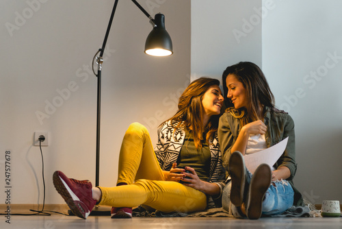Fotografie, Obraz Lesbian couple sitting and smiling