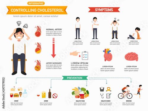 Controlling cholesterol infographics.vector illustration. Canvas Print