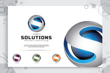 3d Letter S Logo Vector Design With Simple And Modern Colorful Style. Illustration Of 3d Letter S For Technology Company.