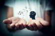 Leinwandbild Motiv Brainstorming concept, knowledge sharing