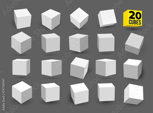 Set of white 3D cubes pack isolated on white background Wallpaper Mural