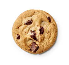 Chocolate Chip Cookie On A White Background With A Shadow