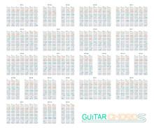 Guitar Chords Set On Vector Gr...