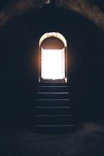 Church Open Door And Light