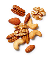 Mixed Nuts: Almonds, Walnuts, And Pecans On A White Background