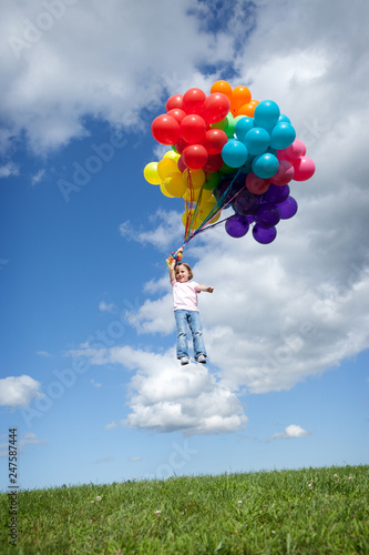 Little Girl Floating Away with Bunch of Balloons Canvas Print