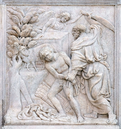 Abraham Sacrificing Isaac, relief on portal of Saint Petronius Basilica in Bologna, Italy Fotomurales