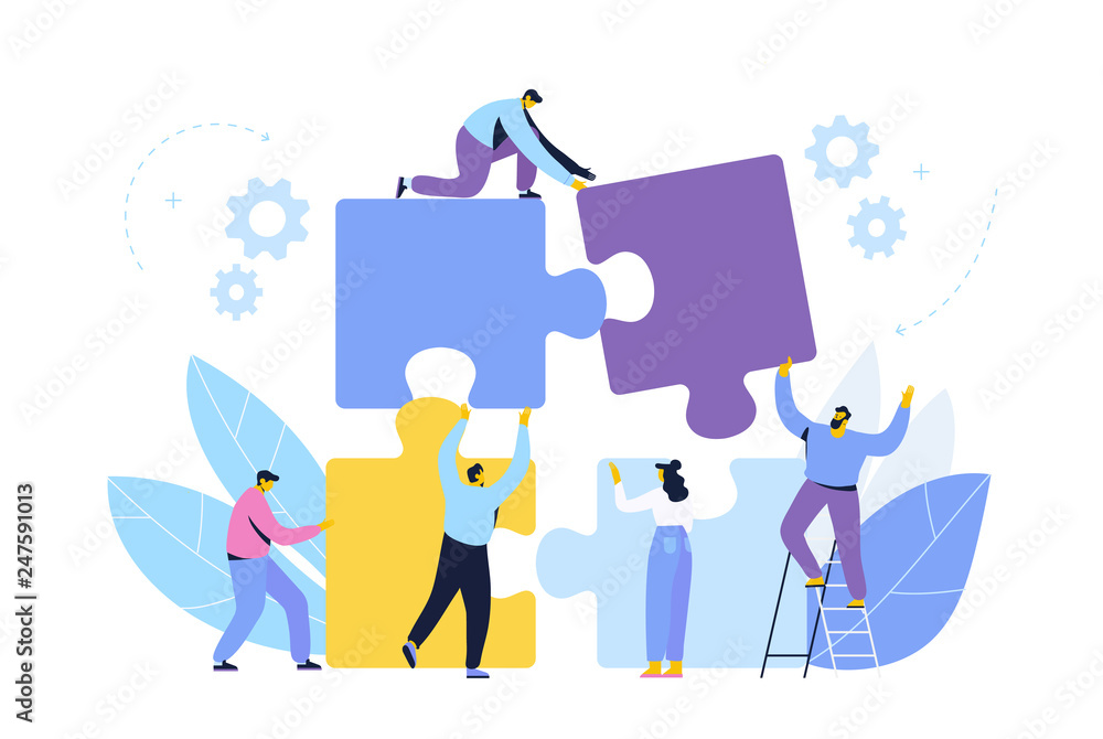 Fototapeta People connecting puzzle elements. Business concept. Partnership. Team working, cooperation.Vector illustration in flat design style.