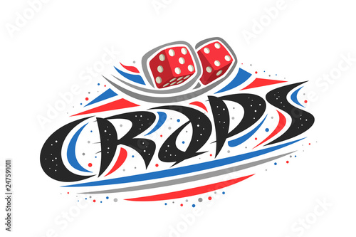 Photo  Vector logo for Craps game, creative illustration of throwing two red dice cubes, original decorative brush typeface for word craps, simplistic abstract gambling banner with lines and dots on white