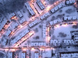 Aerial view of Zabrze, Poland covered by snow on a cold winter