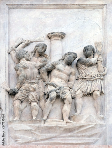 Canvas Print The Flagellation of Christ by Giacomo Scilla, right door of San Petronio Basilic