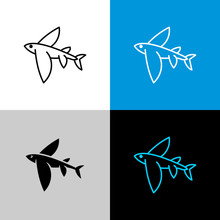 Flying Fish Thin Linear Simple Icon Side View.