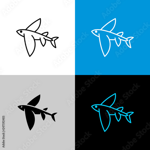Photo Flying fish thin linear simple icon side view.